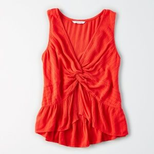 Red Front Knot Tank SZ S